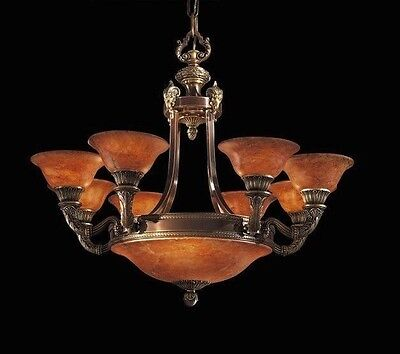 Natural Alabaster and Bronze 12 Light Chandelier ceiling lamp with Ram Heads