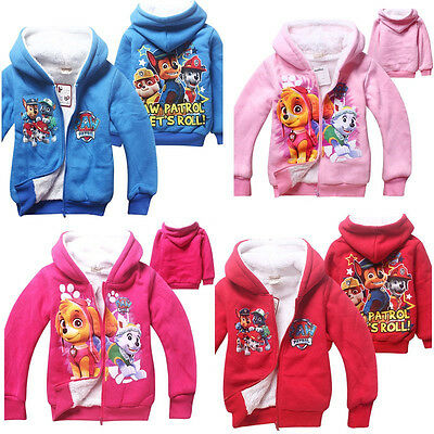 New Kids Long Sleeve PAW PATROL Zipper Hoodies Coat Hooded Cartoon Clothes 3-7 Y