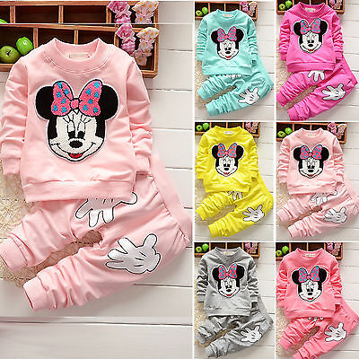 Baby Girls Minnie Crewneck Hoodie Tops + Pants Casual 2PCs Outfits Set Sportsuit