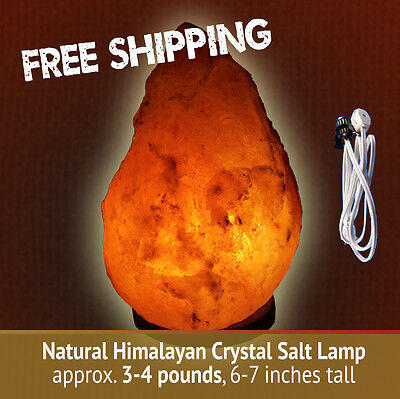 PACK of 4 - Natural Himalayan Crystal Salt Lamps 3-4 lbs, each, 6-7 inches tall