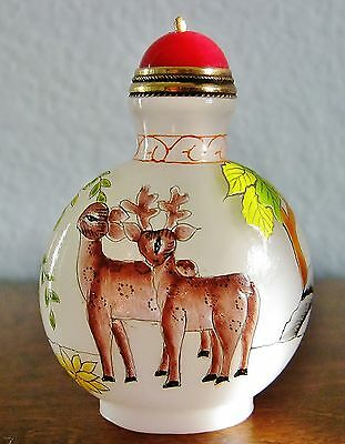 White Opaque Glass Chinese Snuff Bottle w/ Spoon-Hand Painted Enamel Deer