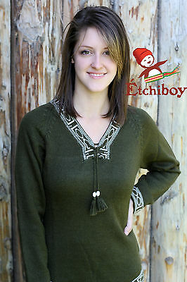 Metis Sweater Etchiboy Chandail Olive Green Alpaca Wool Laine Bell Shape XS-XL