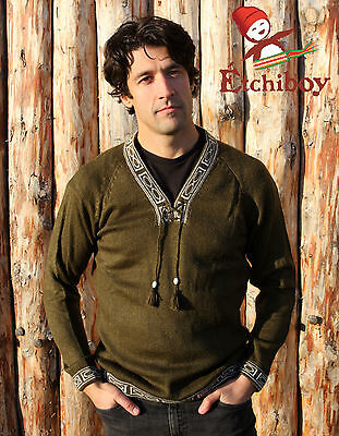 Metis Sweater Etchiboy Olive Green Vert Olive Alpaca Wool Square Shape XS-XL