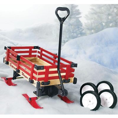 Classic Red Convertible Wooden Wagon and Sleigh, with Ski Runners or Wheels