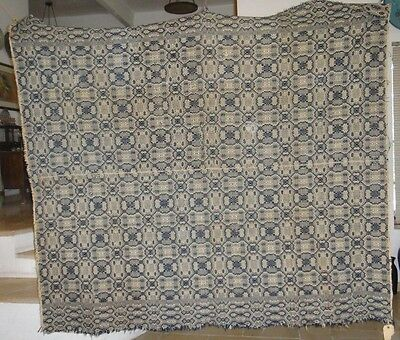 """Rare And Unique Antique 1830 American Overshot Woven Coverlet 80"""" X 70"""""""