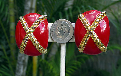 Vintage Collectible XL Red Enamel... Gold Braid ...Clip on EARRINGS