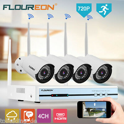 4CH Wireless Wifi 1080P DVR NVR Outdoor 720P IP Cameras CCTV Security System Kit
