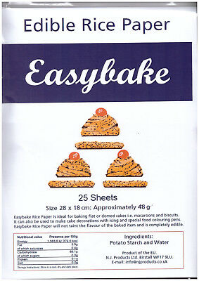 Easybake Edible Rice Paper 12 Sheets ~ White Orange Pink Blue Green or Yellow
