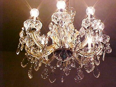 Gorgeous Old 40's 8 Lites  Hollywood Regency French Leadcrystal Chandelier Huge