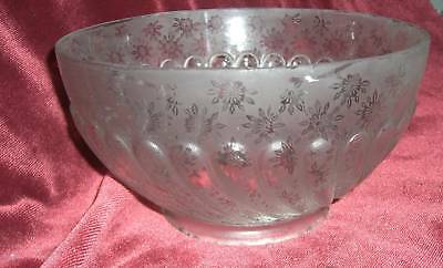 VICTORIAN Etched  GLASS SHADE GASOLIER GLOBE RIBBED