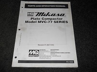 STOW MULTIQUIP MS-63 Plaster Mortar & Mixer Operation & Parts Manual