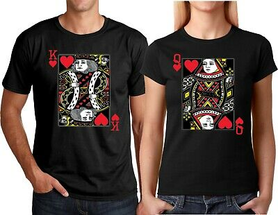 King and Queen Cards Couple matching funny cute T-Shirts S-4XL