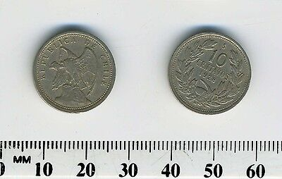 Chile 1928 - 10 Centavos Copper-Nickel Coin - Defiant Condor on rock