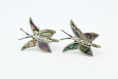 Vintage Sterling Silver Abalone Butterfly Screw Back Earrings Taxco