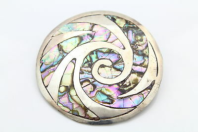 Classic Sterling Silver Vintage Mexican Abalone Tribal Swirl Medallion Pendant