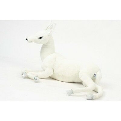 """Reindeer, White Baby Laying 26"""" L By Hansa"""