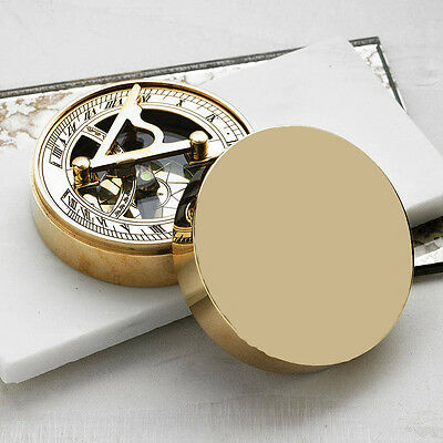 Crystal Shining Solid Brass Pocket Sundial Timer Compass
