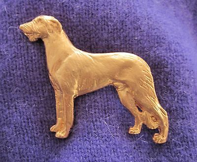 Chema Sotoca 24K Gold Plate Dog Brooch Pin Jewelry NEW Scottish Deerhound