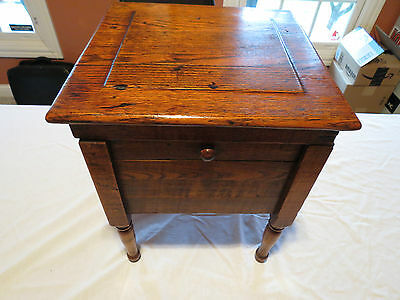 Antique Large Oak Wood Victorian Shoeshine Box Stool with Drawer & Cast Foot
