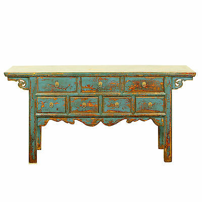 "Chinese 64""  Repro 7 Drawer Console Hall Table w Antique Blue Lacquer Finish"