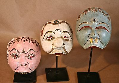 3 Antique Javanese Dance Mask  Hand-Carved & Painted Wood on Iron Museum Mounts