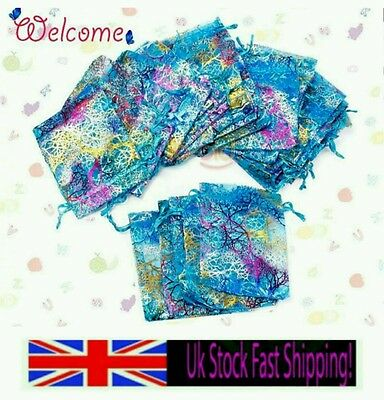 UK NEW Sheer Coralline Organza Jewelry Pouch Wedding Party Favor Gift Bag 12*9CM
