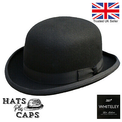 Quality Hand Made Mens Black Bowler Hat With Satin Lining 100% Wool By Whiteleys