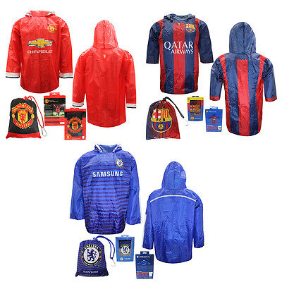 Barcelona Chelsea Manchester united childrens hooded football poncho rain shirt