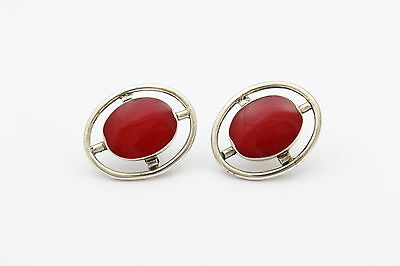 Beautiful Modern Design Mexican Sterling Silver and Red Enamel Post Earrings