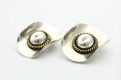 Vintage Western Cowboy Hat Clip-on Earrings- Sterling Silver w/ Gold Accents