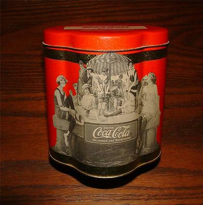 1989 COCA COLA VINTAGE 1920's DESIGN TIN CANISTER MARKETED IN PARIS, FRANCE