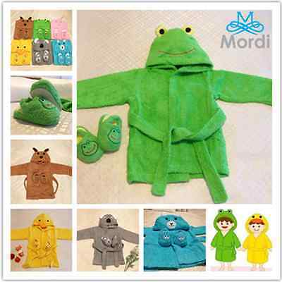 Baby Kids Boy Girl Towel Terry Shower Bathrobe Slipper Set Gift Bath Robe Animal