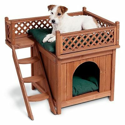 Dog House Wood Room Puppy Pet Shelter Kennel Bed Indoor Outdoor w/ Balcony Roof