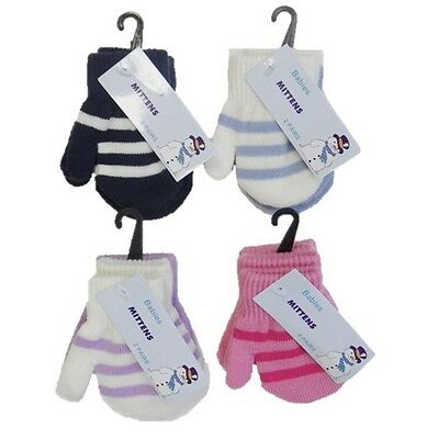 2 Pairs Babies Toddlers  Mittens 1 Plain & 1 Stripe Pair  one size