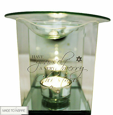 *MERRY CHRISTMAS* Glass Diamonte Yankee Candle Tart/Oil Burner Tea Light Holder
