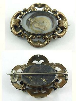 Antique Victorian Gold Plated Double Sided Hair Work Mourning Pin / Brooch 1880s