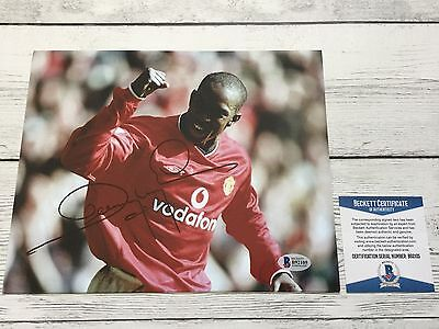 Dwight Yorke Signed 8x10 Photo Manchester United Beckett BAS COA Autographed a
