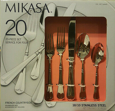 MIKASA FRENCH COUNTRYSIDE 20Pc 18/10 Stainless Steel Cutlery Set Forks Knives Sp