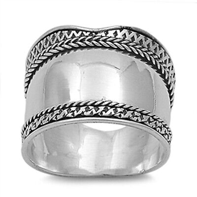Sterling Silver Women's Bali Rope Ring Wide 925 Band Oxidized Fashion Sizes 6-12