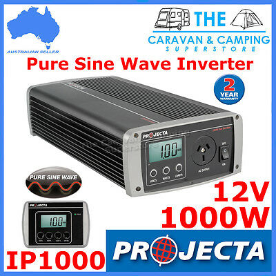 Projecta Power Inverter Ip1000 Pure Sine Wave 1000W 12 240 Volt Car Dc To Ac New