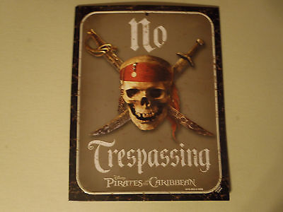"Disney Parks Metal Sign - ""Pirates of the Caribbean""  - ""No Trespassing"" - NEW"