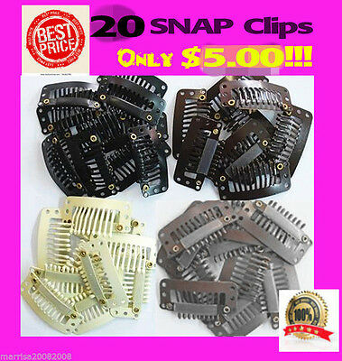 20 X SNAP CLIPS FOR HAIR EXTENSIONS / WIGS in BLACK* BROWN* BLONDE* 33mm