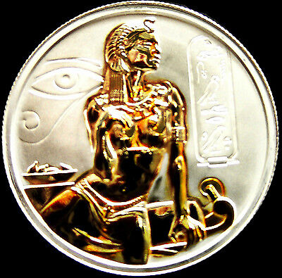 Silver 2 oz CLEOPATRA ISIS DOUBLE GILDED