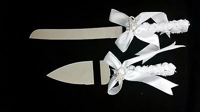 Double Hearts- Wedding Cake Knife And Server Satin White Ribbon Gift Box