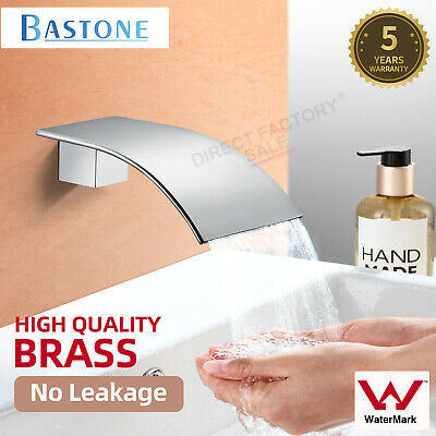Basin Vanity Waterfall Bath Spa Water Spout Faucet Chrome Square Brass Watermark