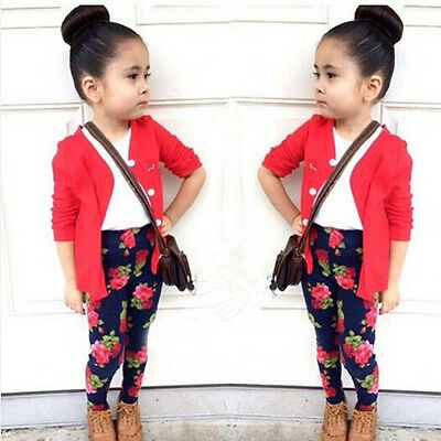 3pcs Baby Girls Cardigan Coat + T-Shirt + Floral Pants Set Kids Outfits Clothes