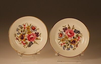 Royal Worcester Pair of Round Floral Coasters, England