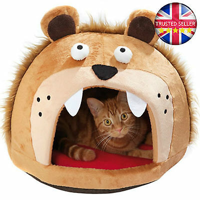 Lion Head Cat Bed Free Standing Cosy Self Heating Cushion Warm Soft Luxury