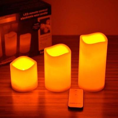 New 3 Flameless LED Candles Romantic Wedding Scented Wax With Remote Control