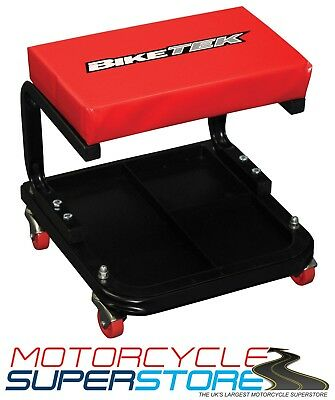 New Biketek Motorcycle Car Workshop Garage Creeper Seat Black/Red With Tool Tray